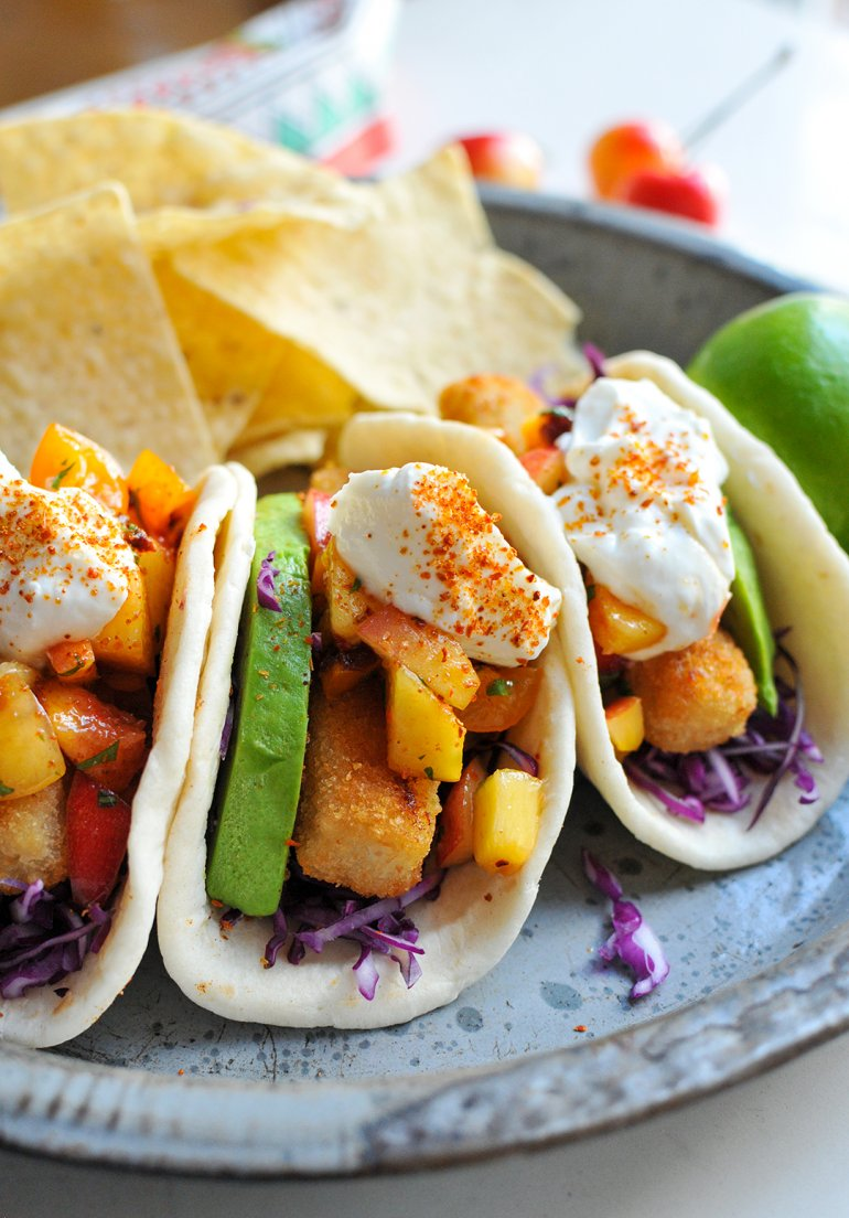 close up of easy fish tacos