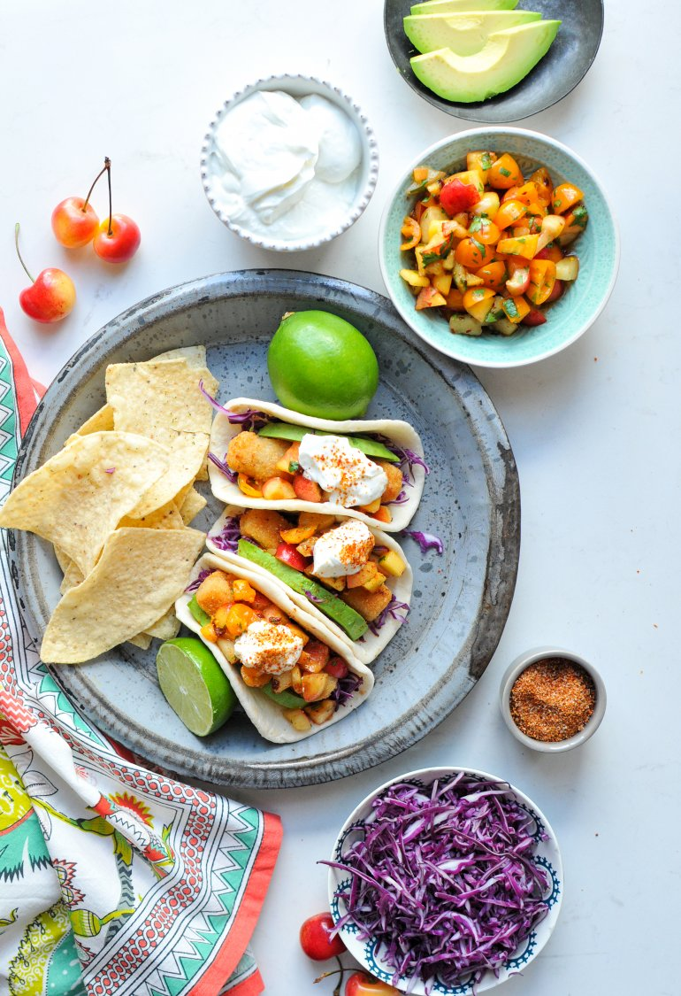 easy fish tacos with peach cherry salsa