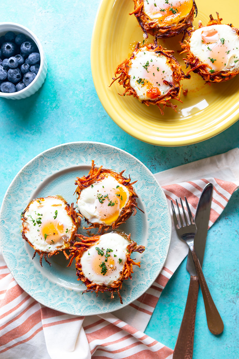 egg nests with root veggies