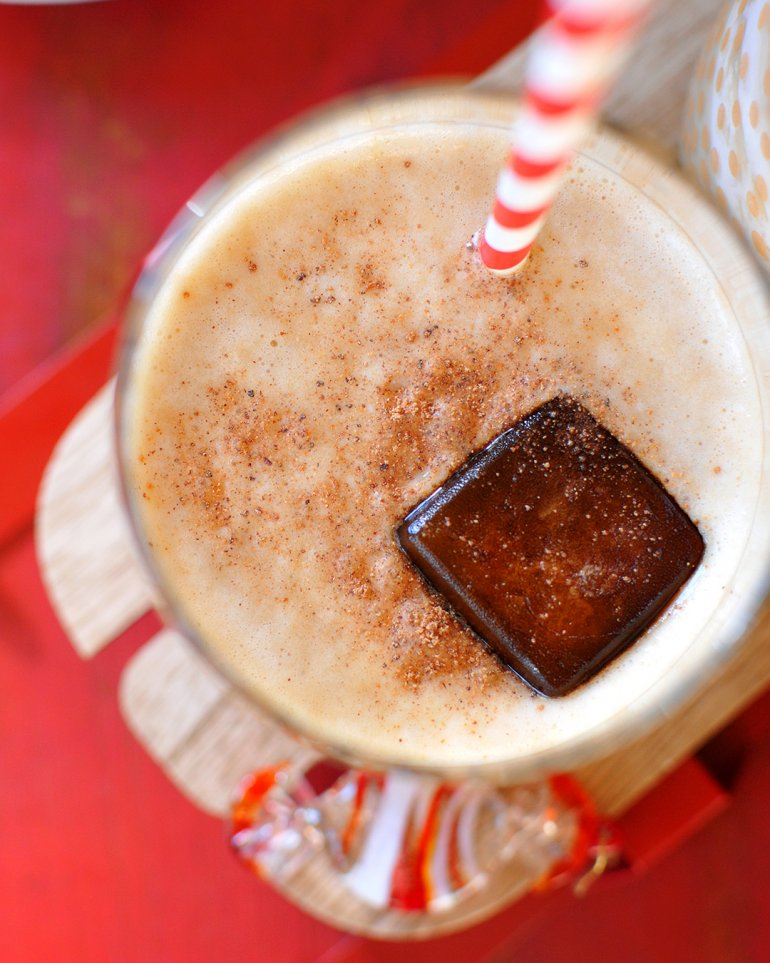 3 ingredient eggnog smoothie with coffee ice cubes