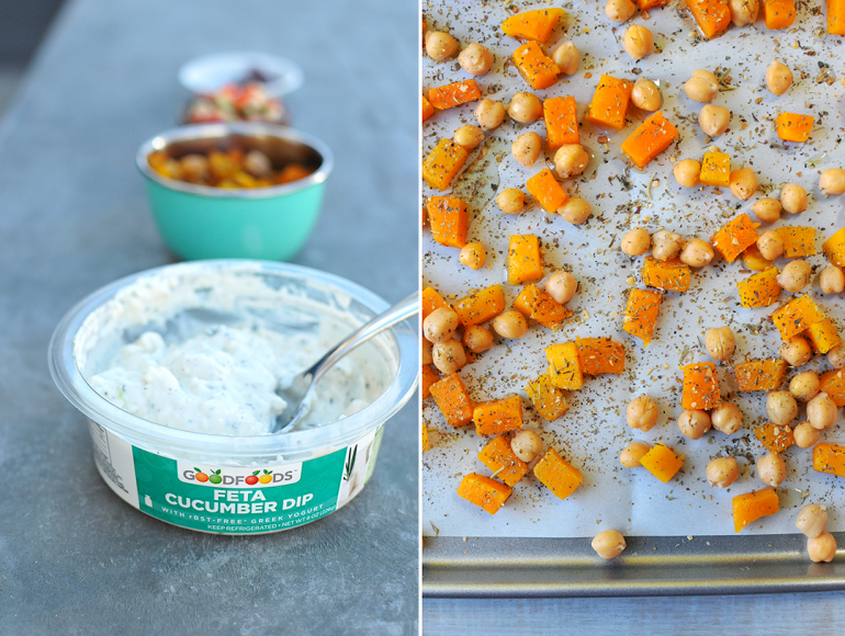 roasted butternut squash and chickpeas with goodfoods group