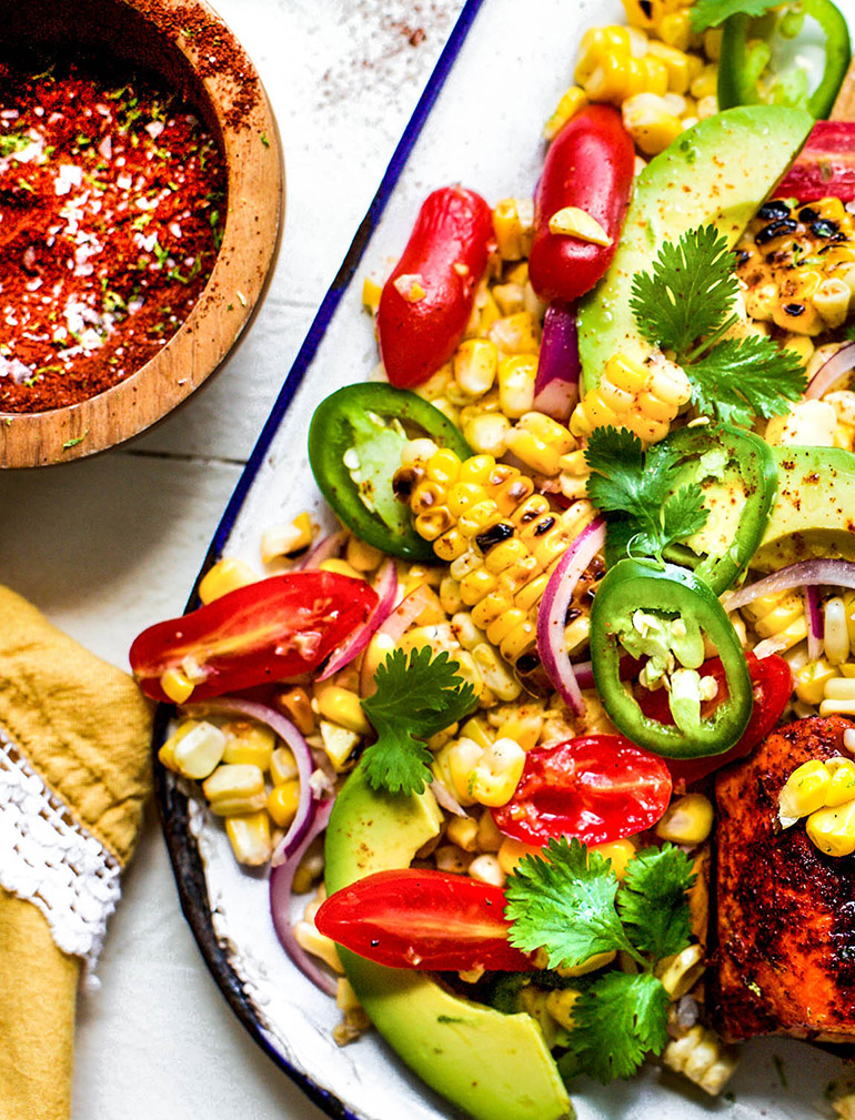 close up of chili lime spice and corn salad