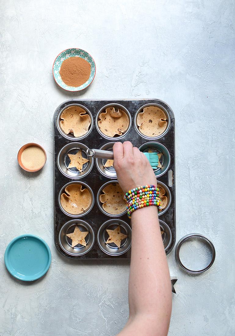 flatout dessert cups in muffin tin