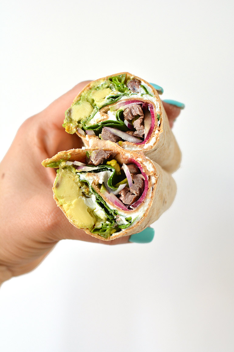 flatout steak wrap with avocado and pistachios