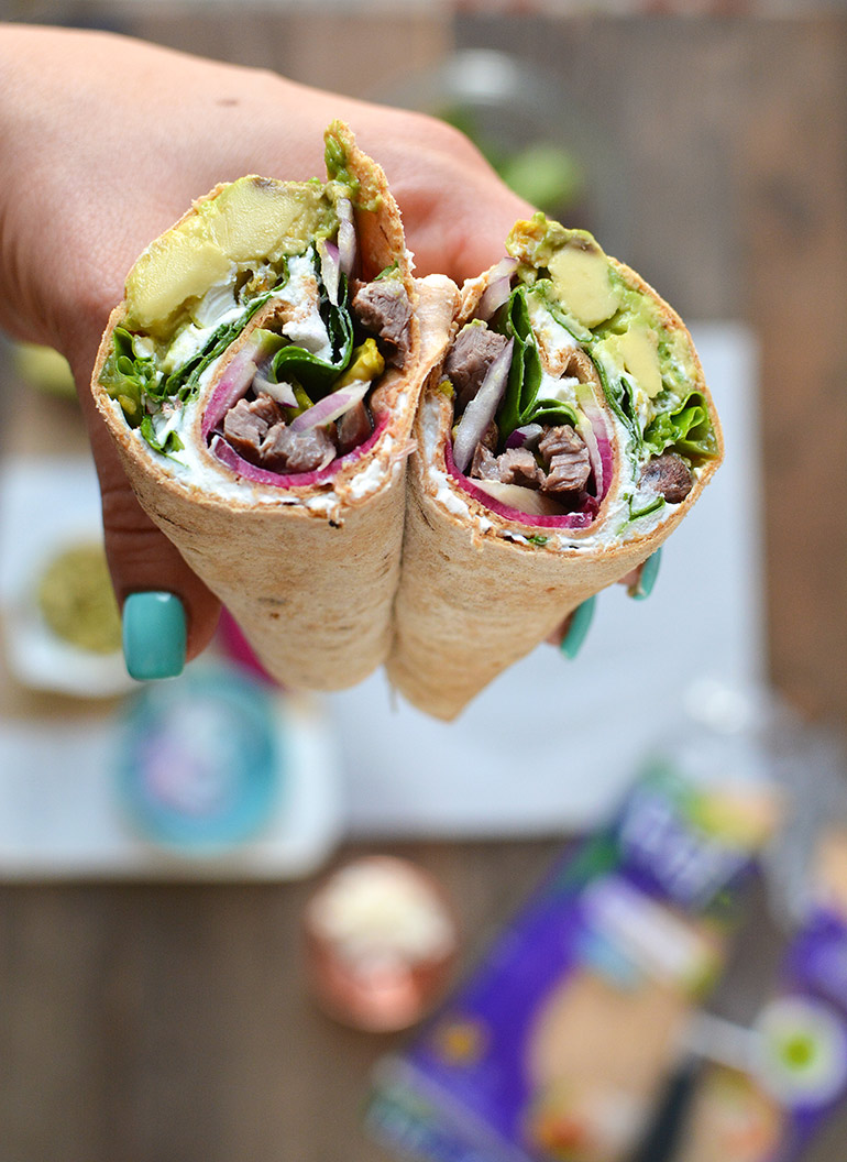 flatout steak wrap up close