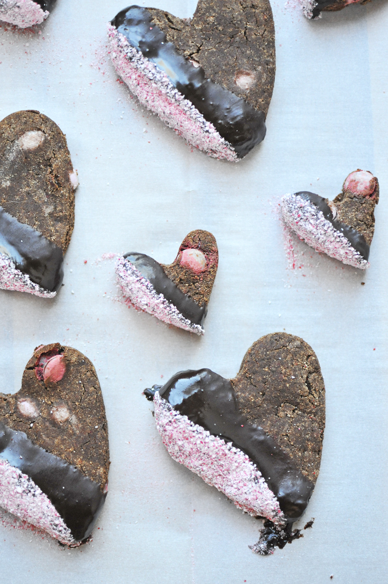 grain free chocolate heart cookies