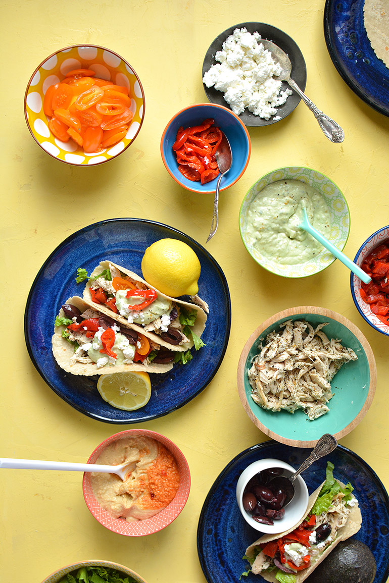 greek chicken wraps with avo tzatziki