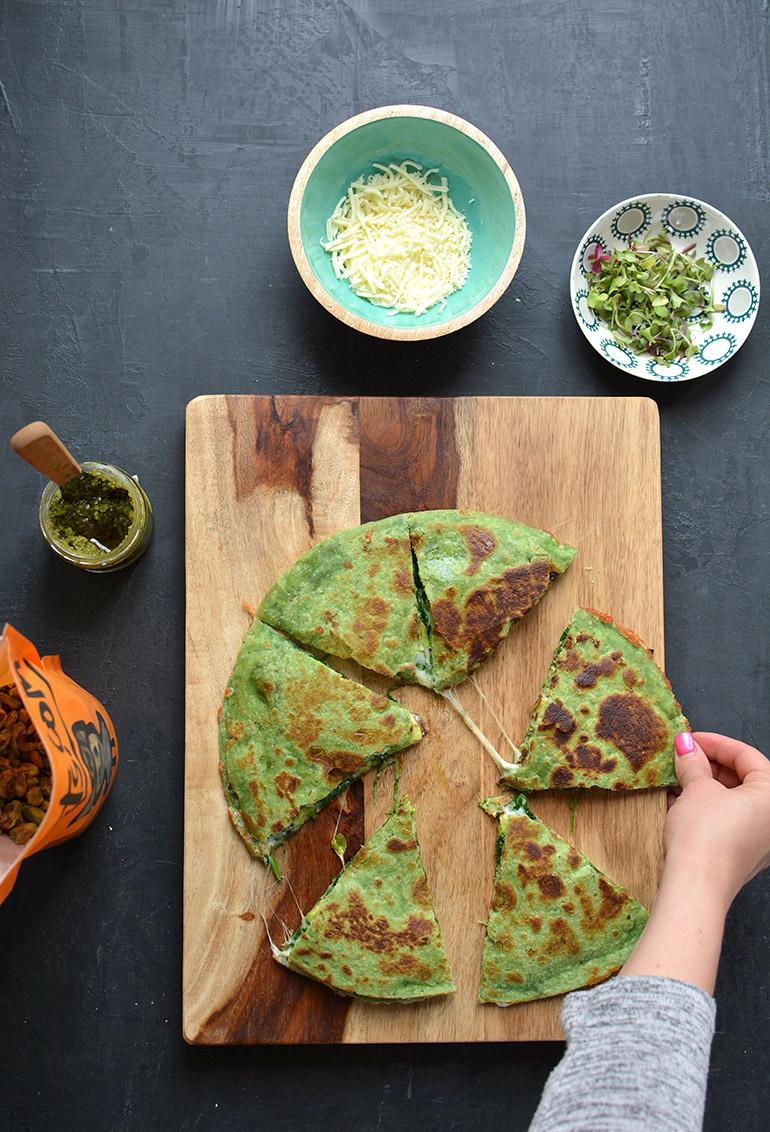 green goddess quesadilla sliced
