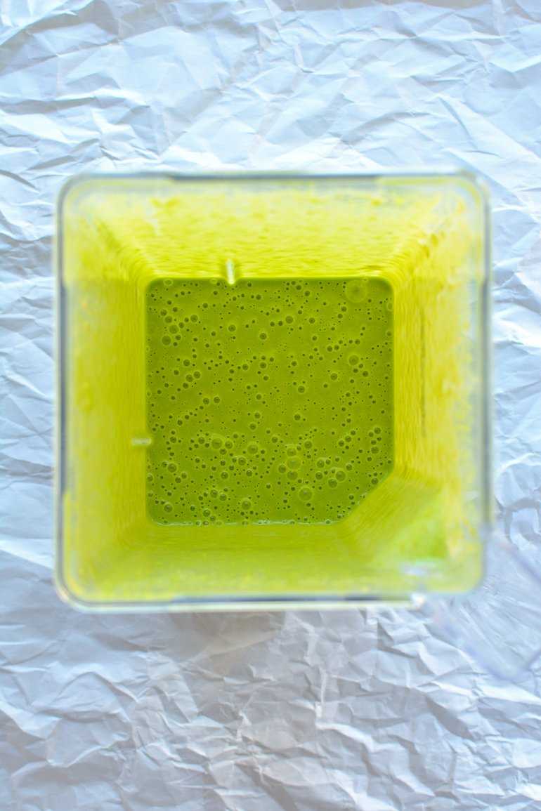 green smoothie pancakes in blender