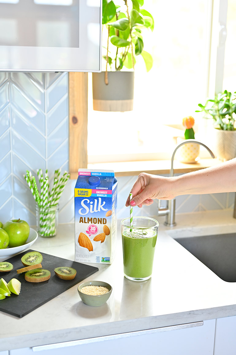 silk green smoothie on counter