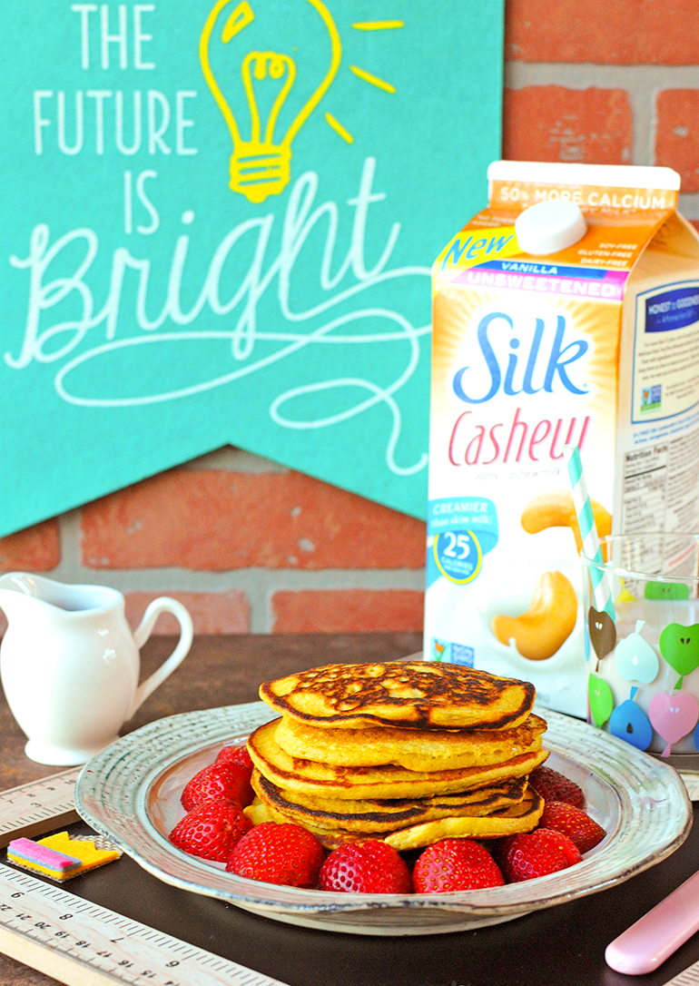 hello sunshine pancakes with silk cashewmilk