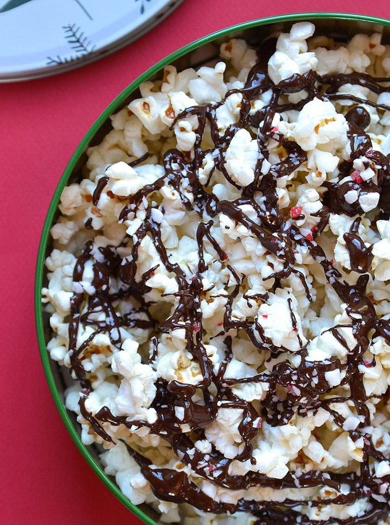 closeup of holiday popcorn tin