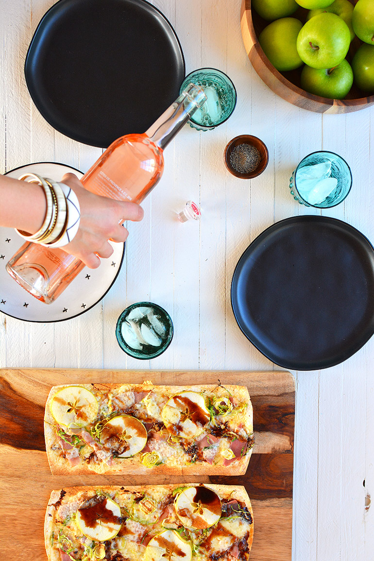 holiday flatbread paired with rose