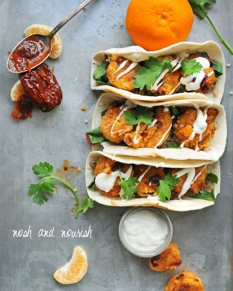 crispy honey chipotle shrimp tacos