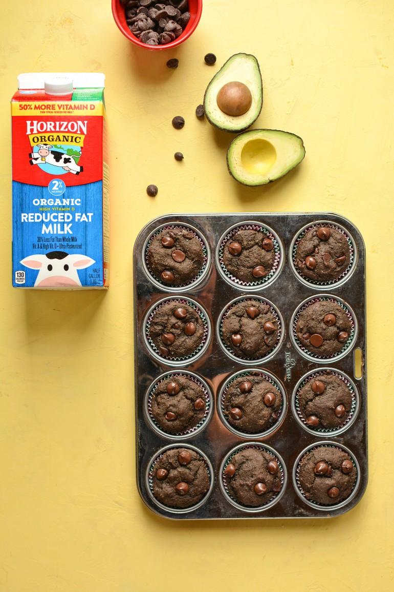 chocolate avocado muffins with horizon organic
