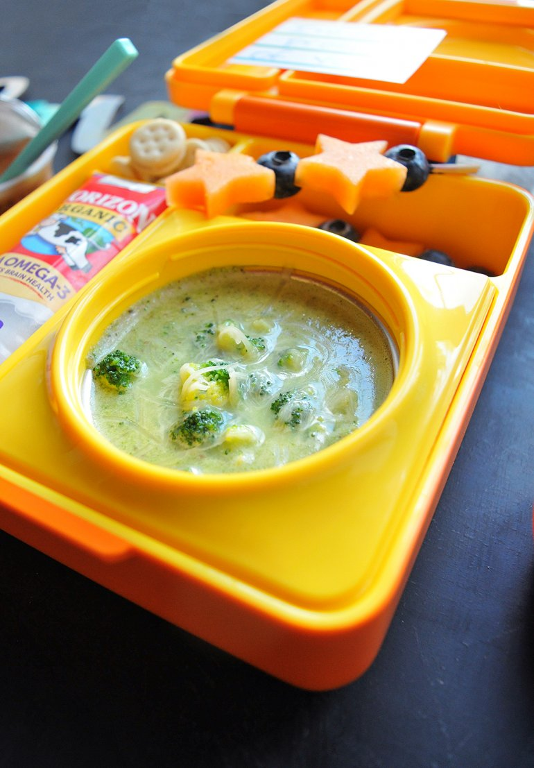broccoli cheddar soup in omielife lunchbox
