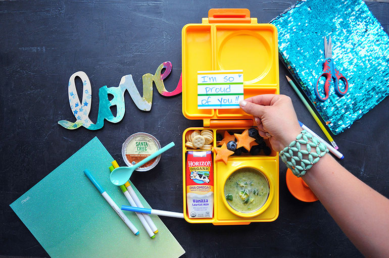 omielife lunchbox filled with horizon organic
