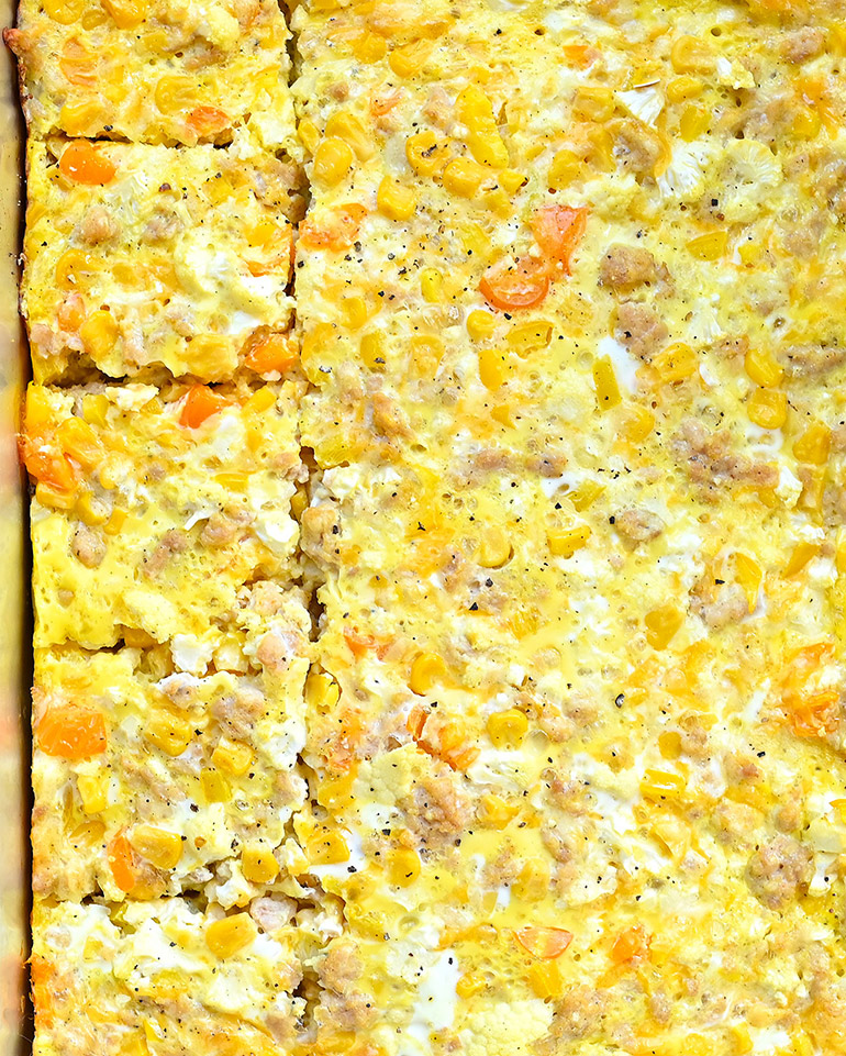 cauliflower and corn breakfast casserole cooked