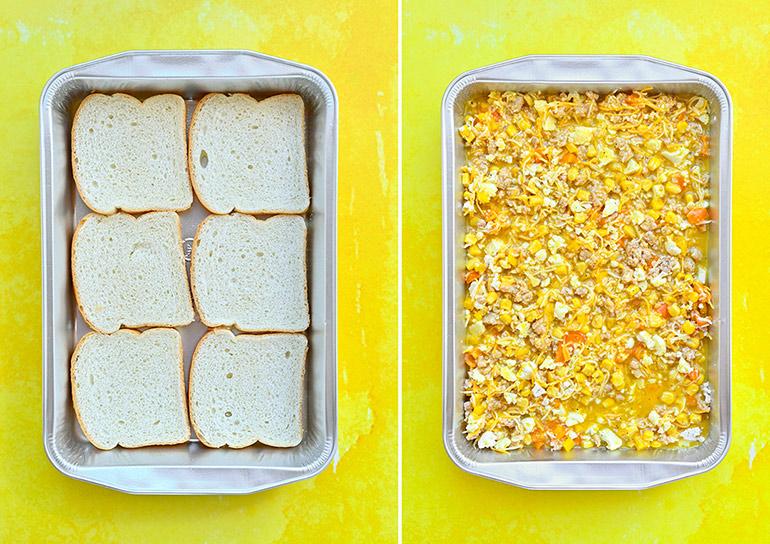 easy breakfast casserole in process