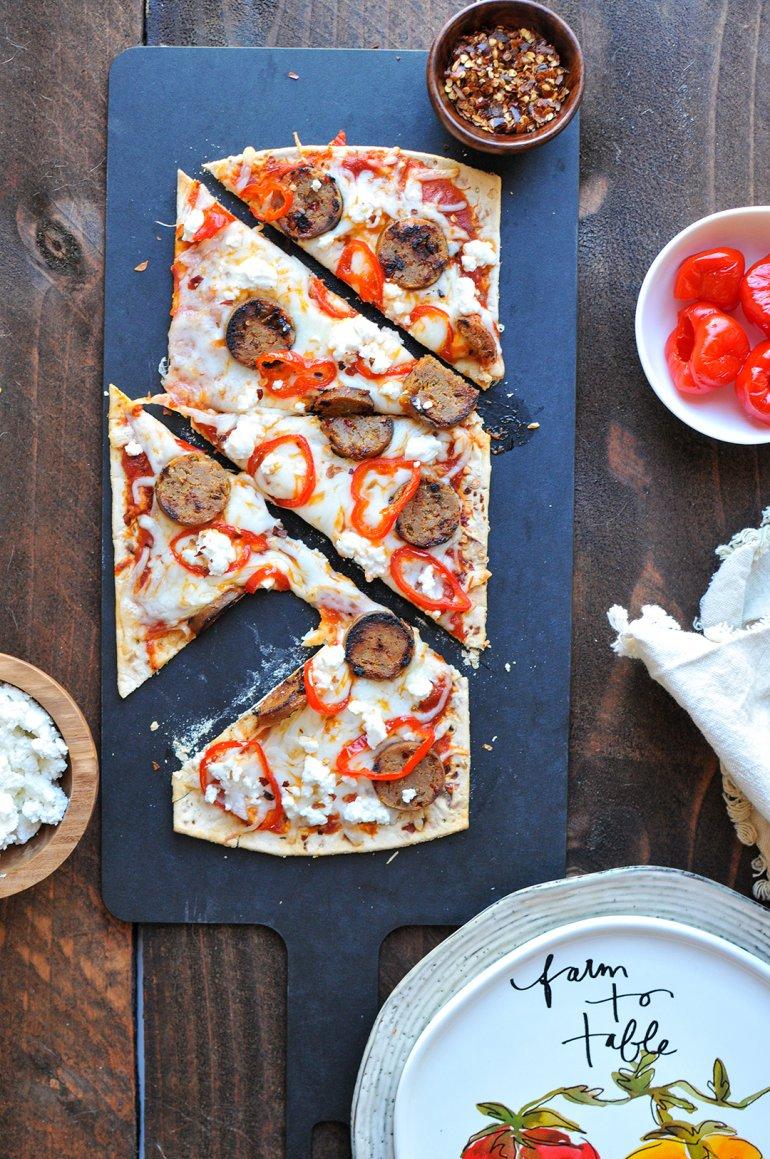 italian double cheesy flatbread with flatout