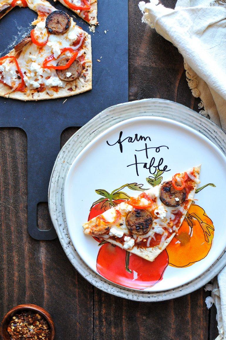 italian double cheesy flatbread on plate