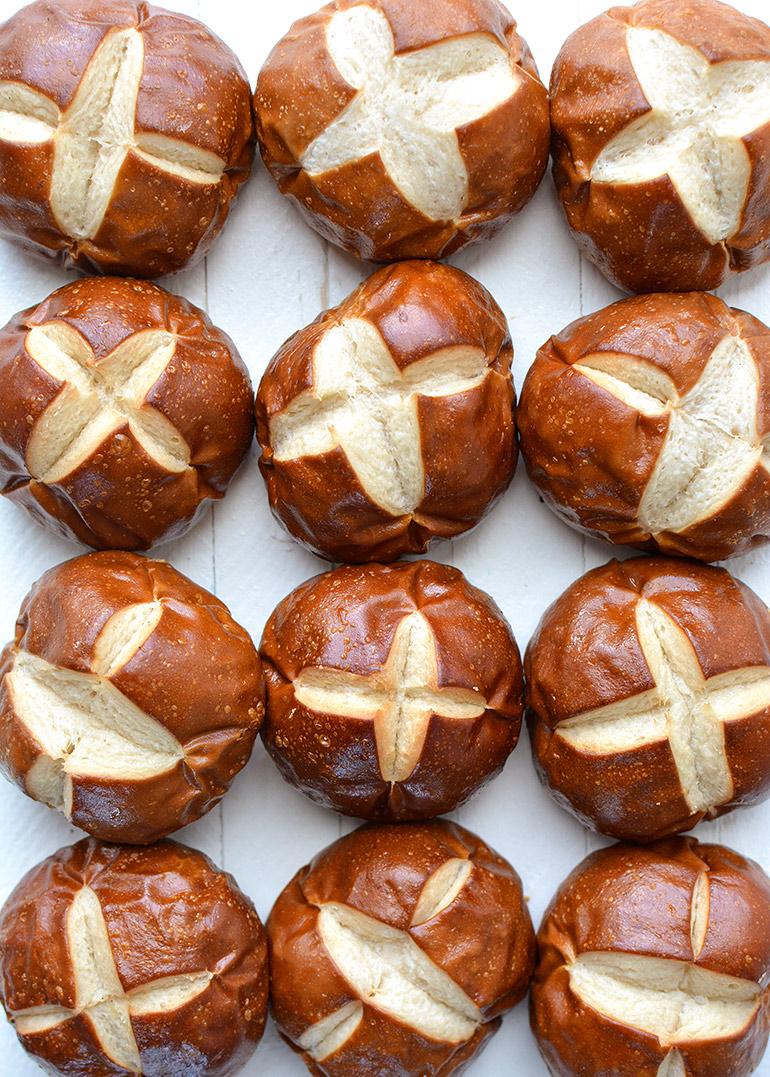 pretzel buns closeup
