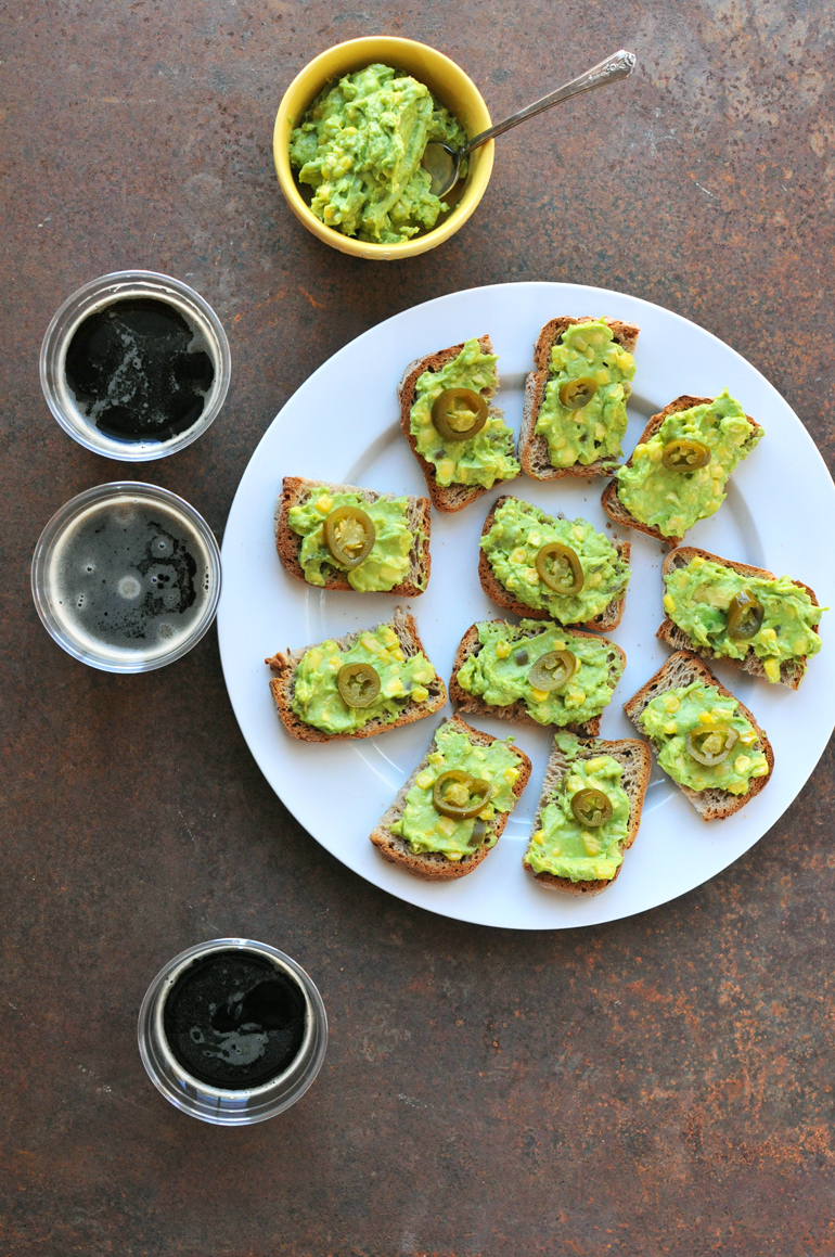 jalapeno corn avocado toast