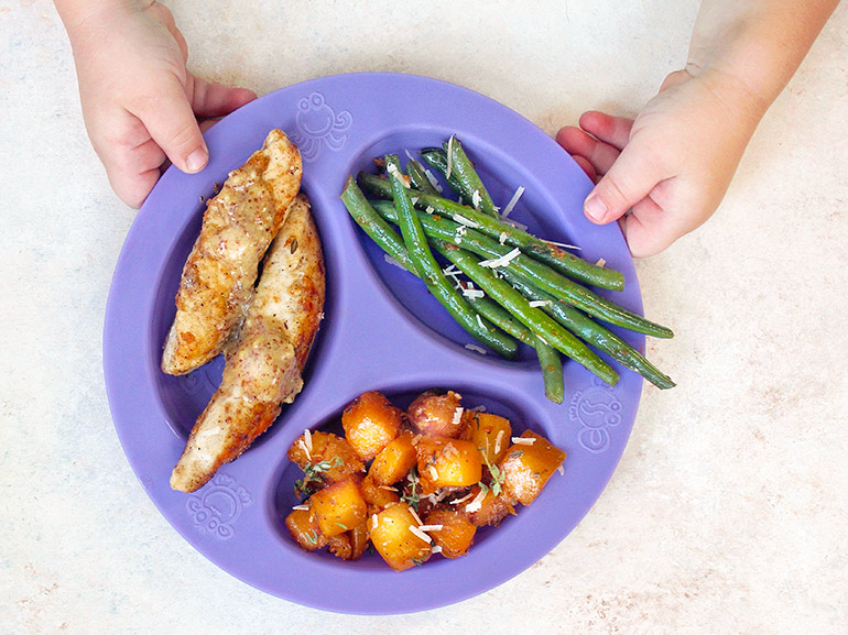 nourished like mom kid plate version of chicken butternut dinner