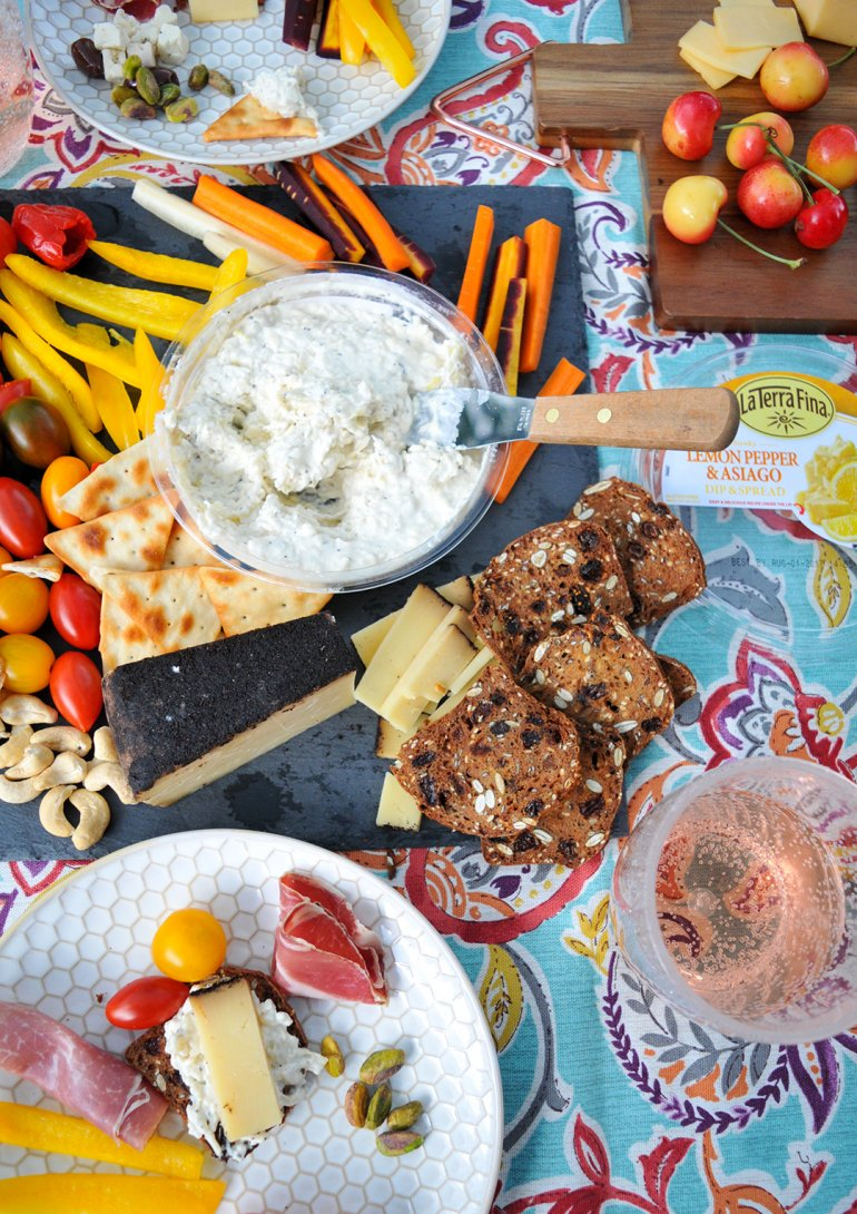 la terra fina dip and charcuterie snack board