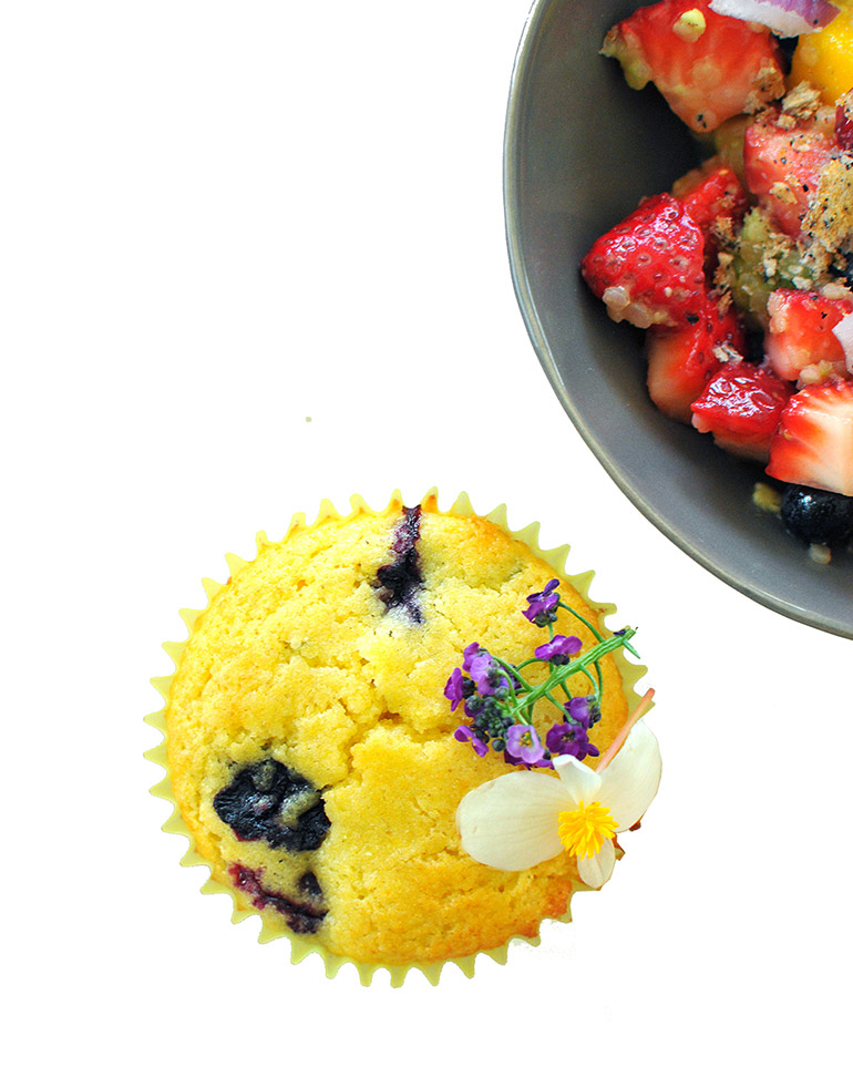 lemon blueberry muffins with edible flowers