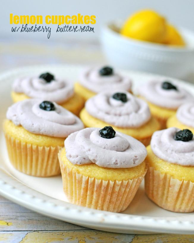 Lemon Cupcakes with Blueberry Buttercream Frosting | Nosh and Nourish
