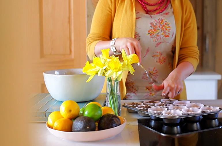 making chocolate avocado muffins with horizon