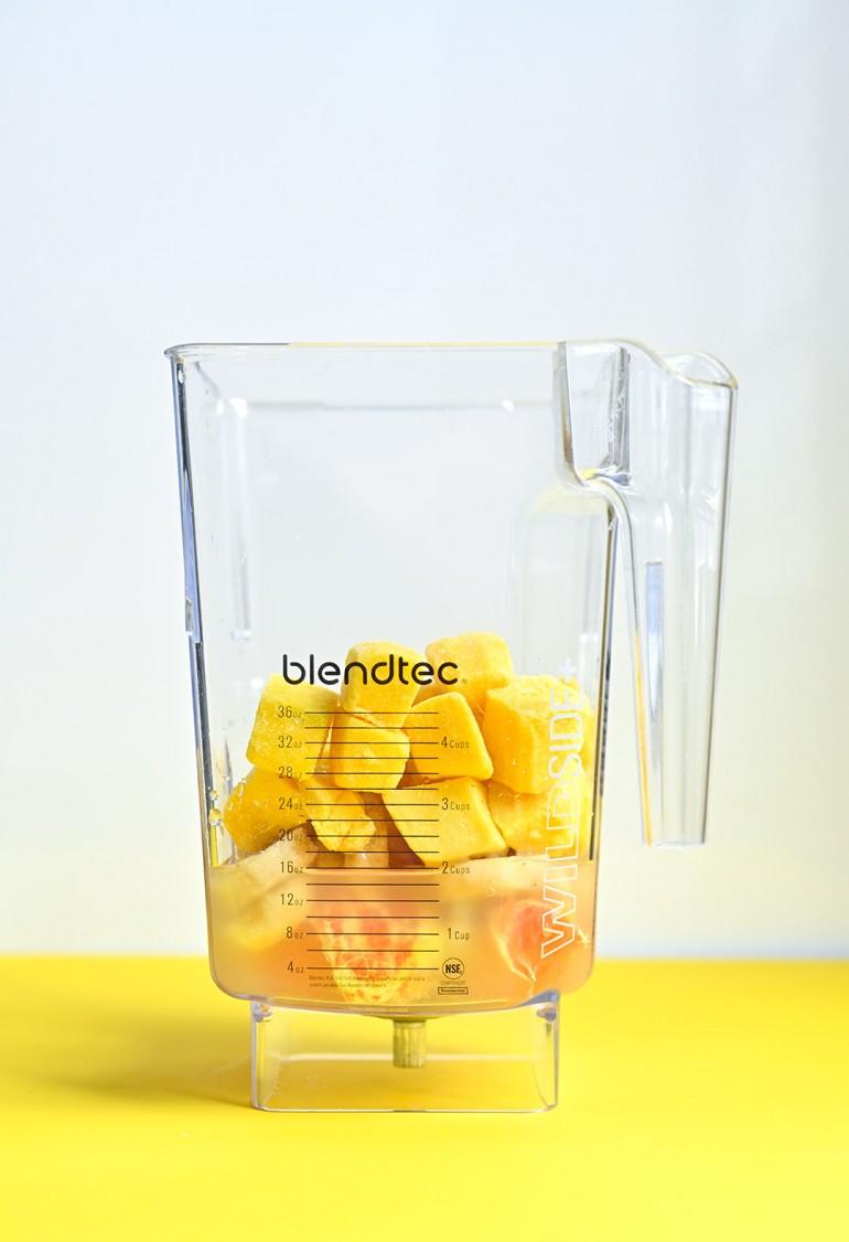 mango creamsicle smoothie in blender