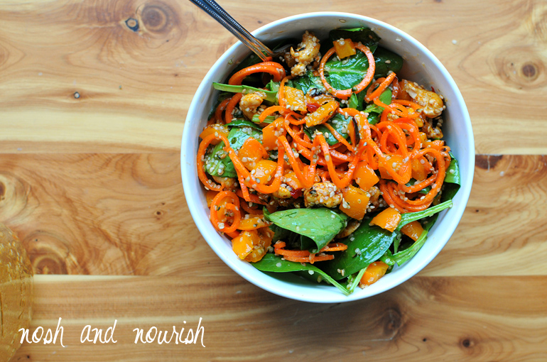 carrot noodle mason jar salad
