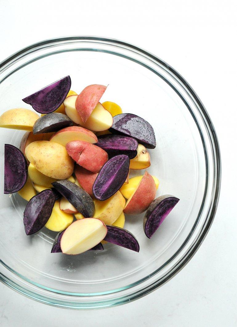 roasted rainbow potatoes