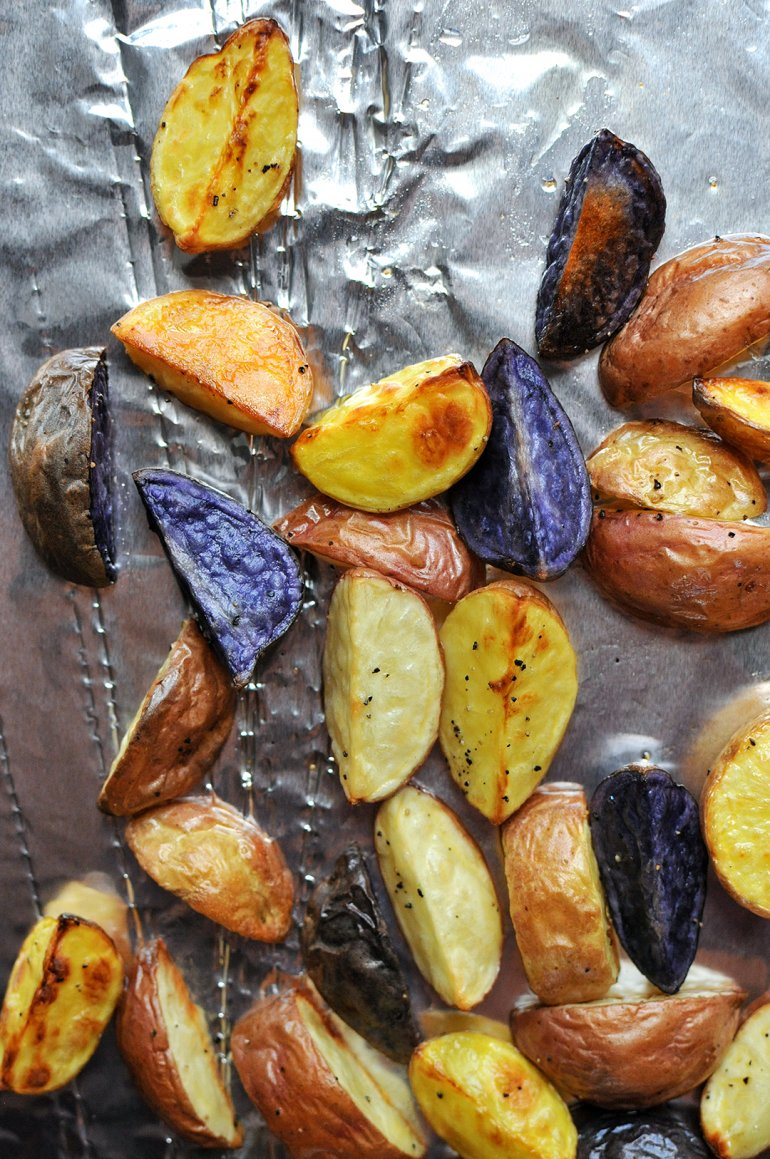 roasted rainbow potatoes on foil