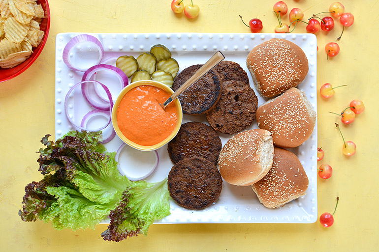veggie burgers with all the toppings
