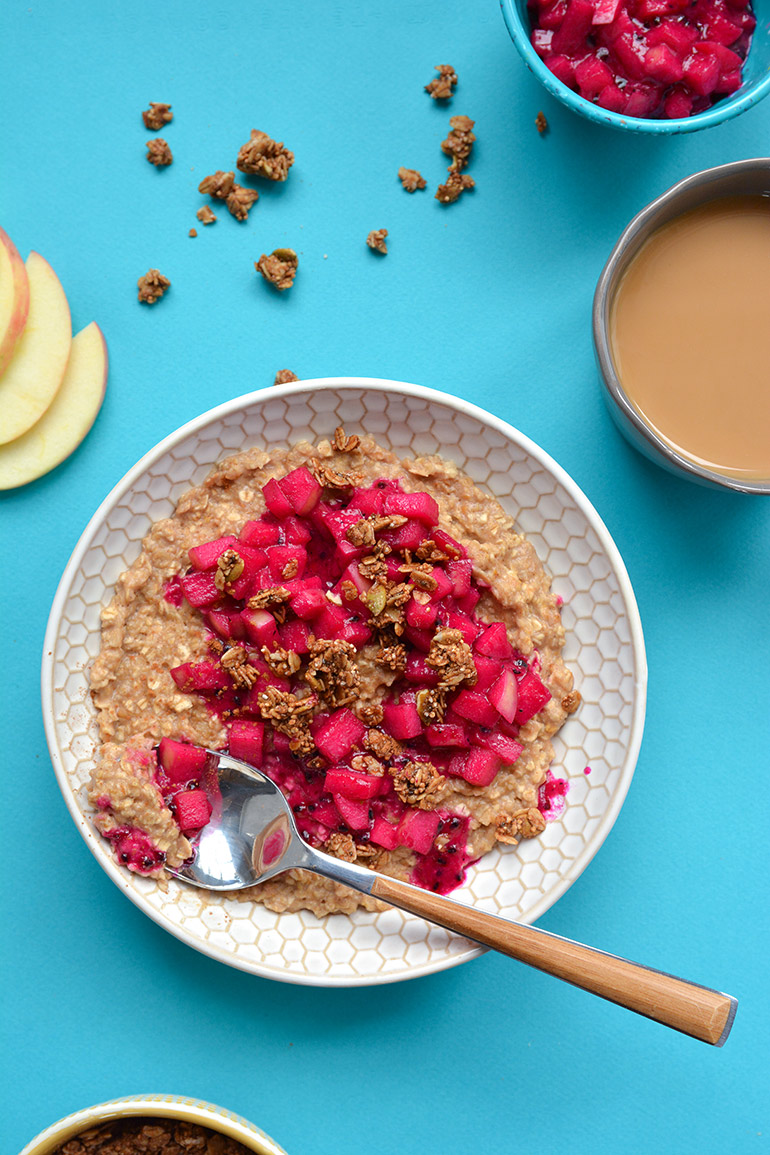 oatmeal bowl with dragonfruit and apple compote