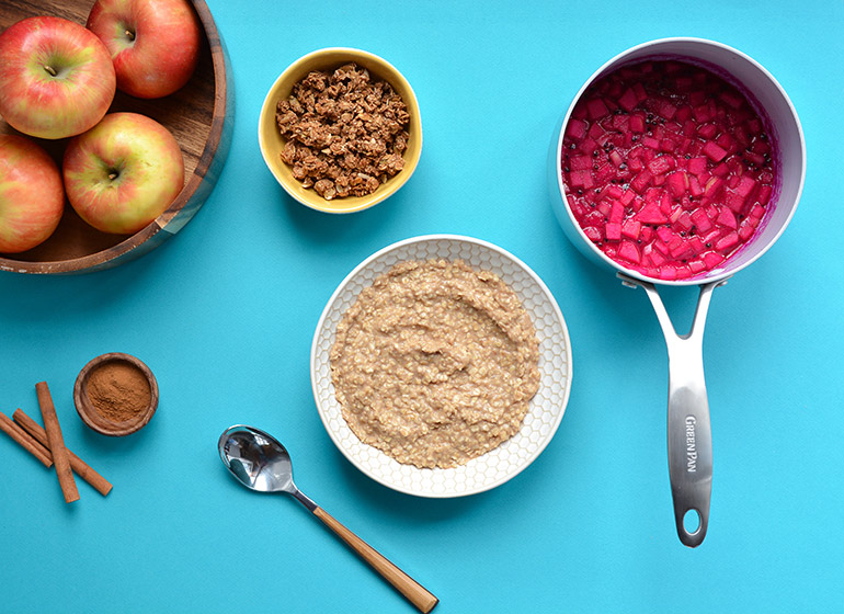 oatmeal bowl with dragonfruit compote
