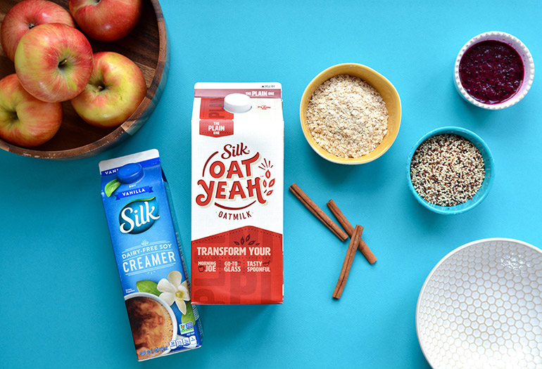 oatmeal bowl with Oat Yeah milk