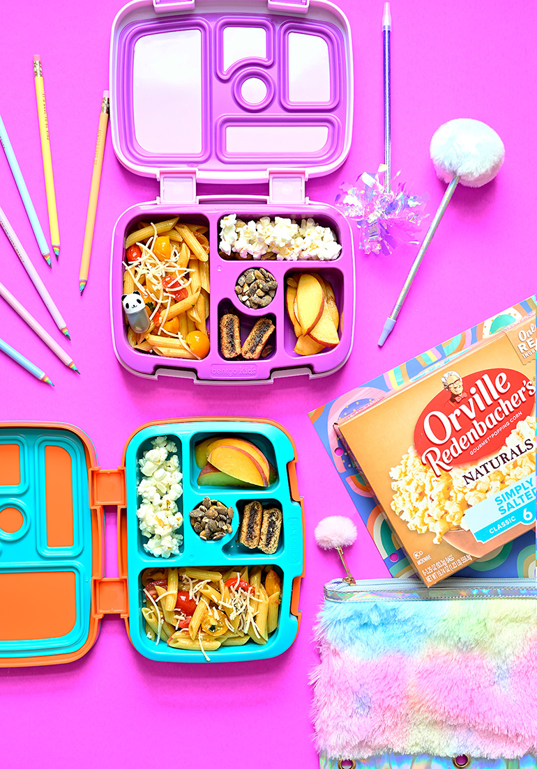 orville purple lunchbox with popcorn
