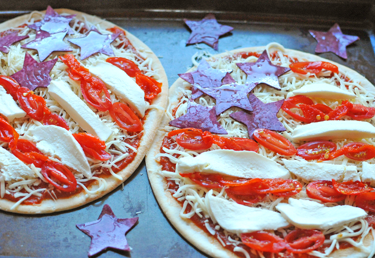 patriotic pizza before baking