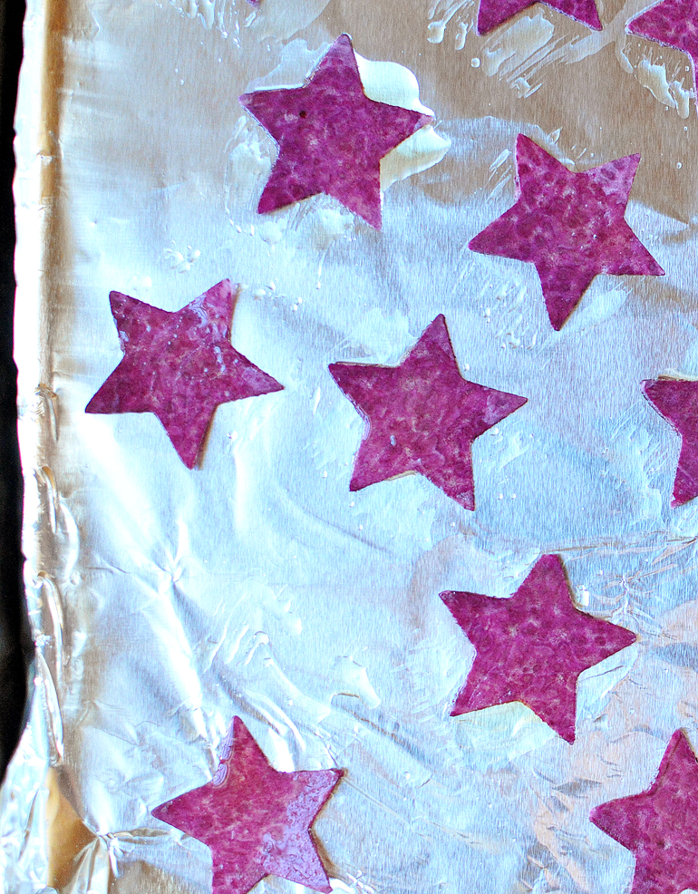 roasted sweet potato stars for patriotic pizza