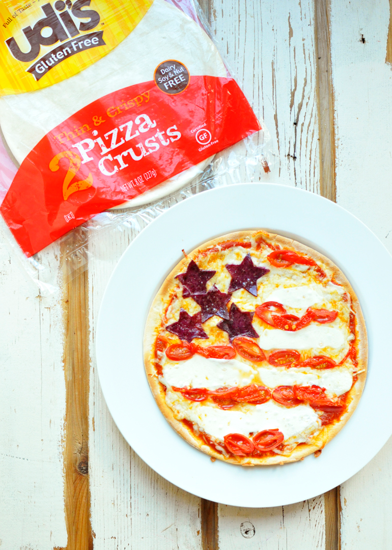 patriotic pizza using udis gf pizza crust
