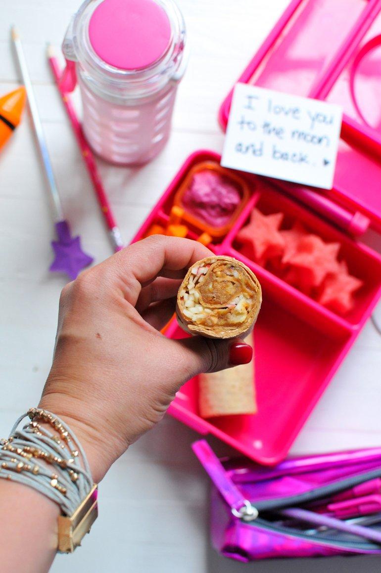 flatout chickpea peanut butter wrap closeup