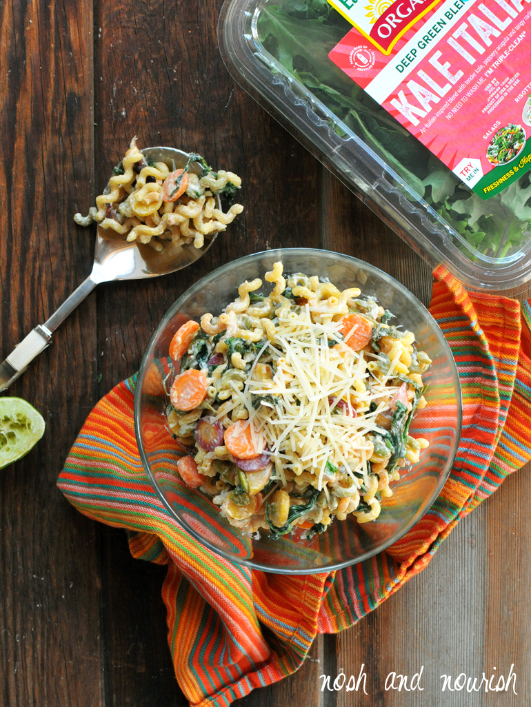 peaches and greens pasta salad