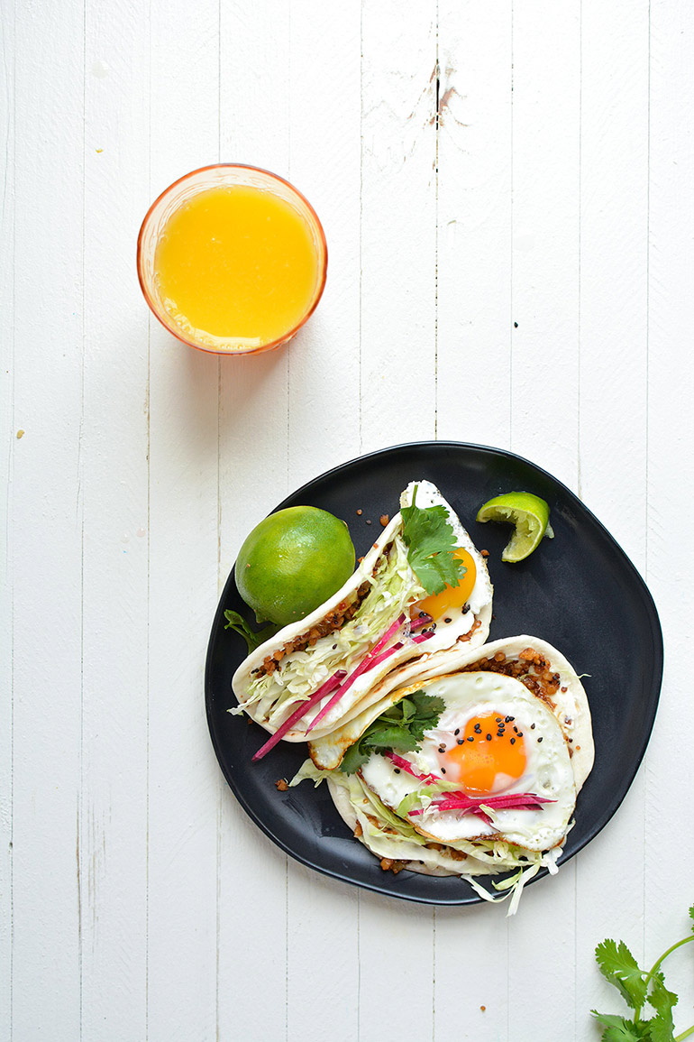 pepper jelly and cream cheese breakfast tacos with oj