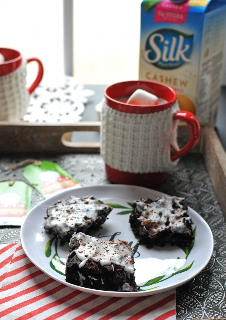 fudgy vegan peppermint brownies with Silk