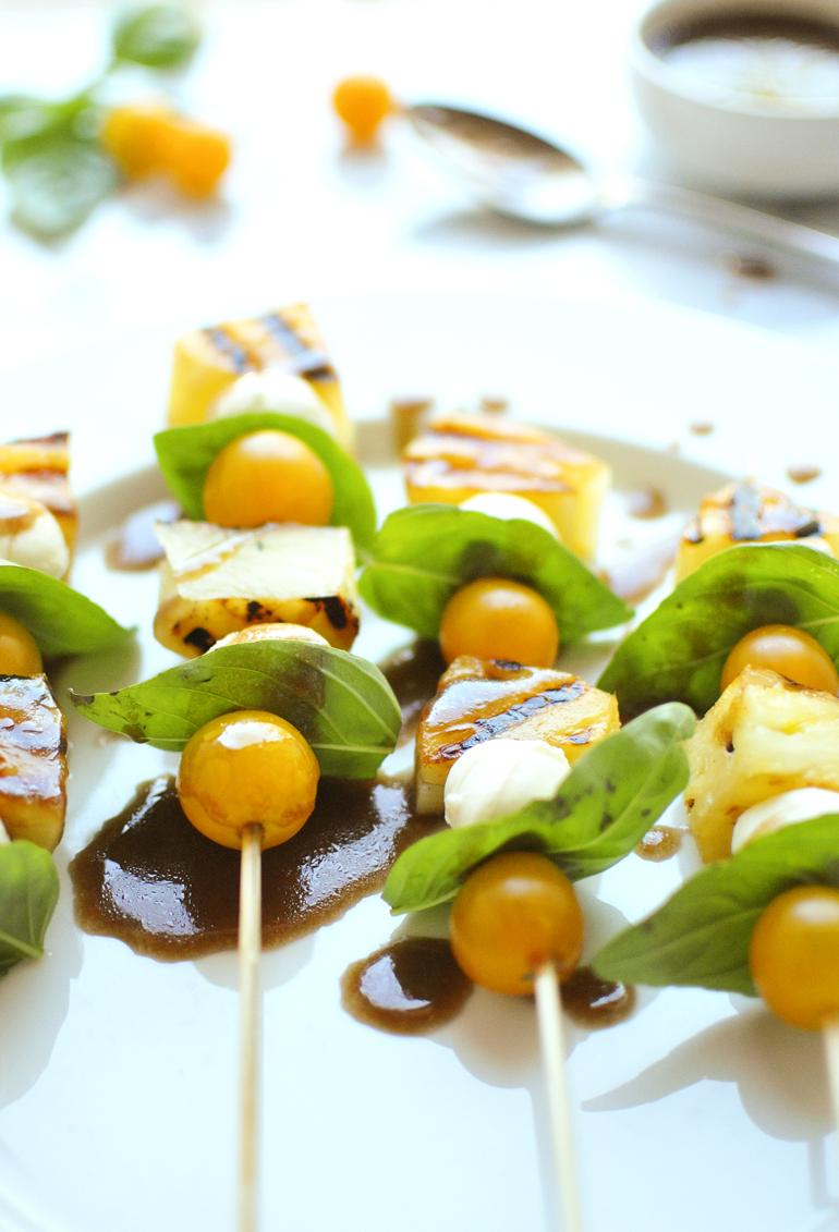 grilled pineapple caprese skewers
