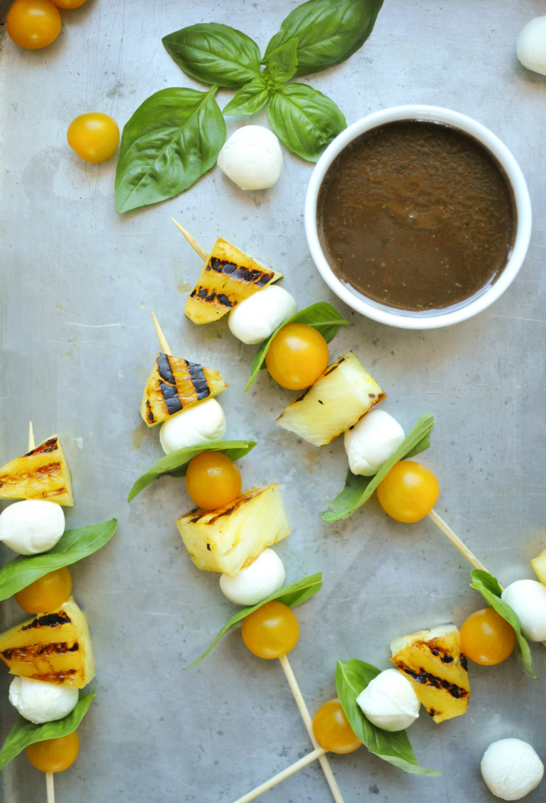 pineapple caprese skewers above